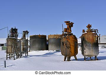 kemisk, cistern, efter, eld