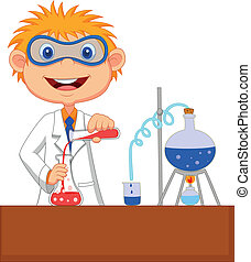 kemisk, dreng, experime, cartoon
