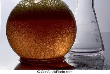 kemisk, experiment, lommeflasker