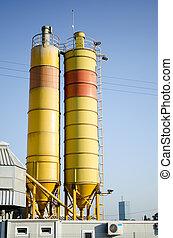 kemisk, facilitet, tårne