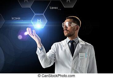 kemisk, formel,  goggles, forskare, labb