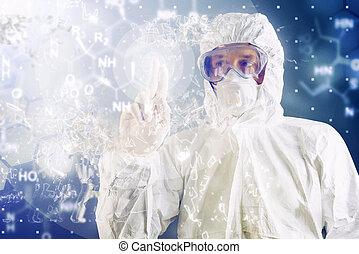 kemisk forskare, analysering, formel, på, virtuell, avskärma