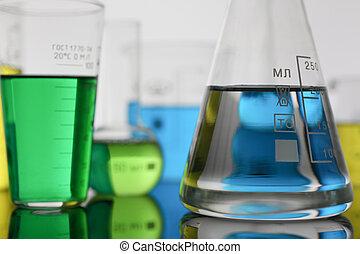 kemisk, industri, lök, med, blå, magenta