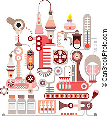 kemisk, laboratorium, vektor, illustration