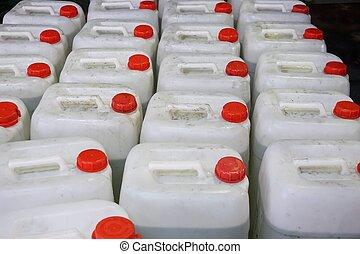 kemisk, plast behållare