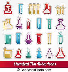 kemisk, prov tub, ikonen, vektor