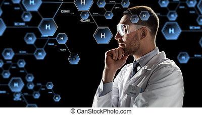 kemisk, se,  goggles, forskare, formel