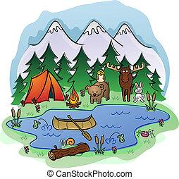 kempingezés, alatt, nyár, noha, állat, frien