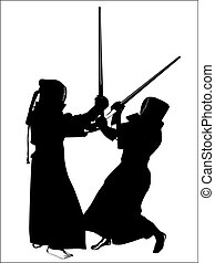 kendo - silhouette of two kendo fighters