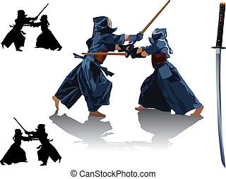 Kendo fight - Two kendo fighters in traditional clothes make...
