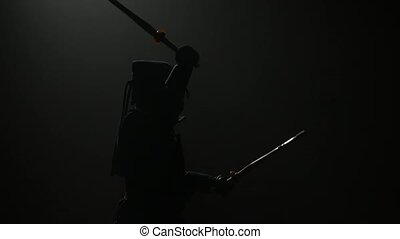 Kendo fighter practicing martial art with the Katana...