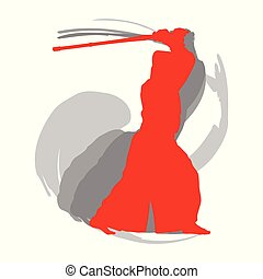 Kendo fighter red silhouette with shinai isolated on white background abstract