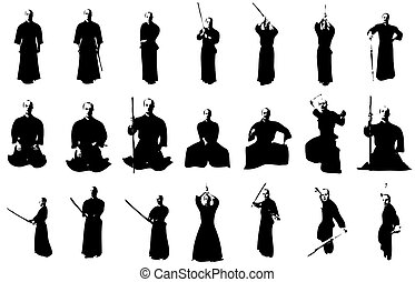 Kendo fighter silhouettes - silhouettes of a kendo fighter...