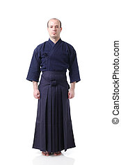 Kendo fighter - portrait of a kendo fighter, isolated on...