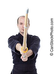 Kendo fighter - kendo fighter with shinai isolated on white