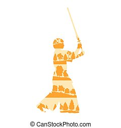 Kendo fighter with shinai vector background concept made of trees fragments isolated