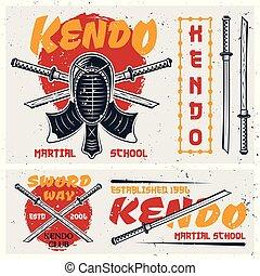 Kendo japanese martial art set of vector elements