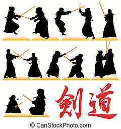 kendo, silhouettes, sätta