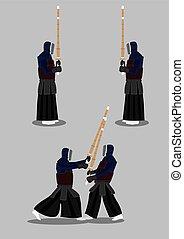 Kendo Sparring Vector Illustration