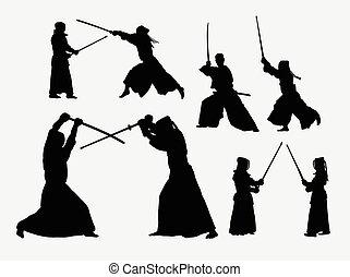 Kendo sport silhouettes