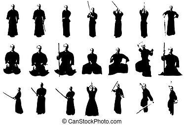 kendo, vechter, silhouettes