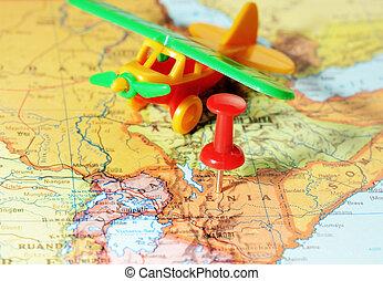 kenia, avion, afrique, carte