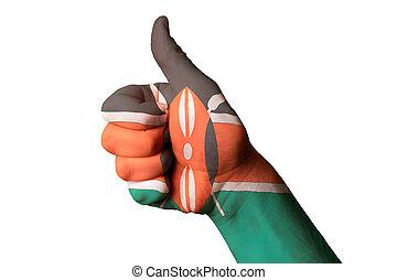 kenia, bandera nacional, pulgar up, gesto, para, excelencia, y, achievem