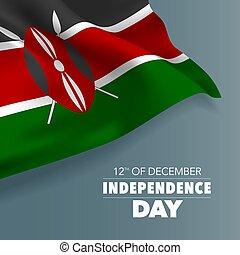 kenia, bandera, tarjeta de felicitación, ilustración, día,...