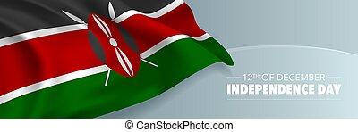 kenia, bandera, vector, saludo, día, independencia, card.