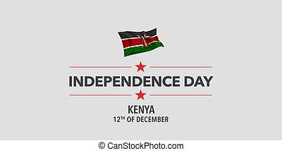 kenia, banner, grüßen karte, abbildung, tag, unabhängigkeit,...