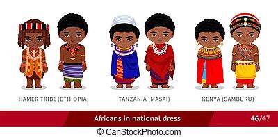 kenia, hamer, äthiopien, stamm, national, dress., masai, ...