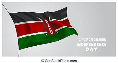kenia, horizontal, bandera, tarjeta de felicitación,...