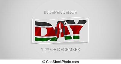 kenia, karte, banner, gruß, glücklich, tag, unabhängigkeit, ...