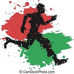 kenia, läufer, ziehen