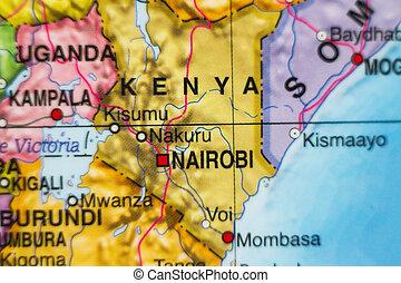kenia, land, landkarte