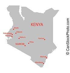 kenia, landkarte, grau