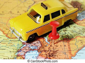 kenia, mapa, afrika, taxi
