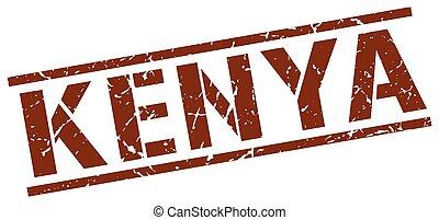 kenia, marrone, quadrato, francobollo