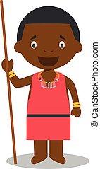kenia, niños, tribe., illustration., vestido, masai,...