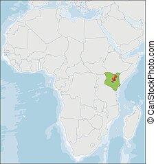 kenia, ort, afrikas, republik, landkarte