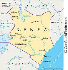 kenia, politisch, landkarte