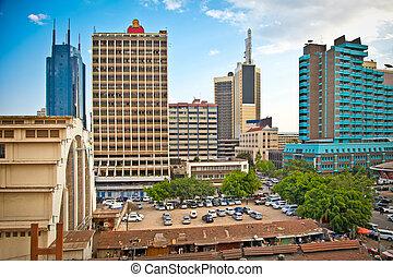 kenia, stad, nairobi, hoofdstad