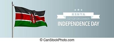 kenia, tarjeta de felicitación, ilustración, feliz, día,...