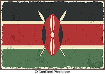 kenianer, vektor, grunge, abbildung, flag.