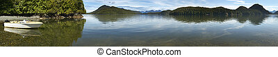 Kennedy lake panoramic view. Vancouver. British Columbia. Canada
