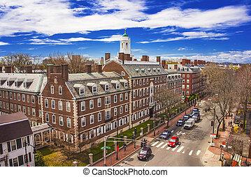 Kennedy Street and Eliot House belltower at Harvard University Area