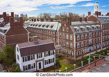 Kennedy Street and Eliot House belltower in Harvard...