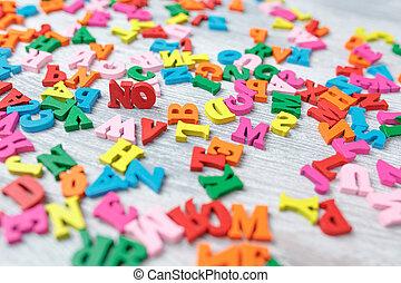 kennis, dag, brieven, houten, achtergrond, grijs, gekleurde