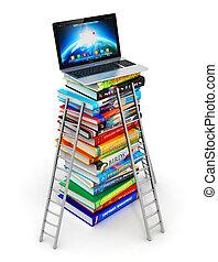 kennis, en, opleiding, concept