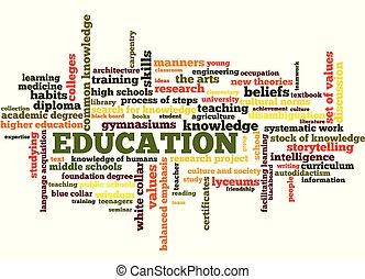 kennis, leren, opleiding, woord, label, wolk